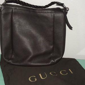 Gucci Shoulder Bamboo Bar Braided Hobo Handbag